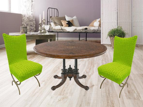 Чехлы на стулья без юбки (6 предметов) САЛАТОВЫЙ