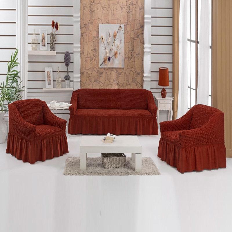 Чехлы на диван и 2 кресла. Кирпичный