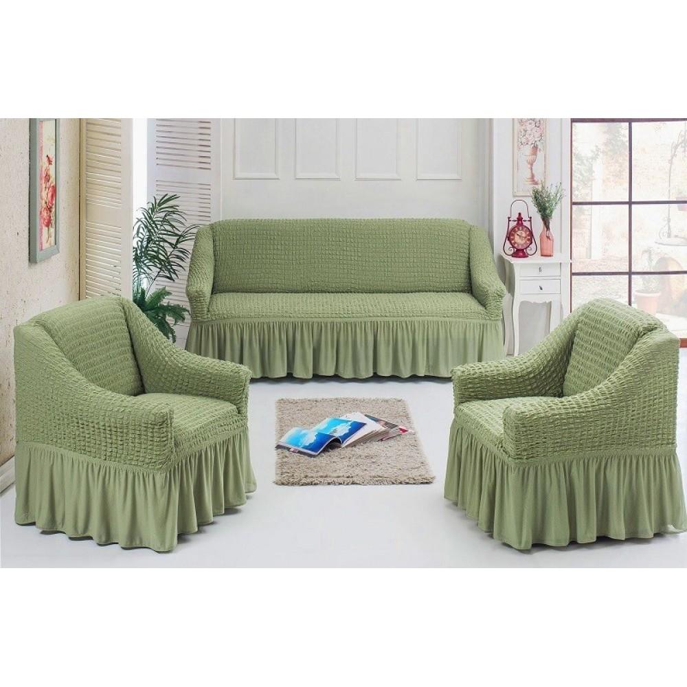 Чехлы на диван и 2 кресла. Фисташковый