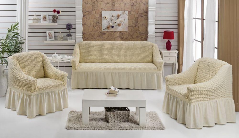 Чехлы на диван и 2 кресла. Шампань