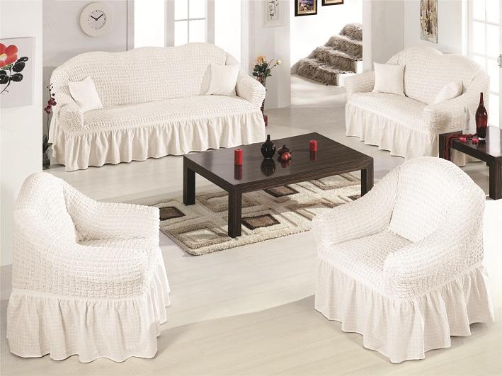 Чехлы на диван и 2 кресла. Белый
