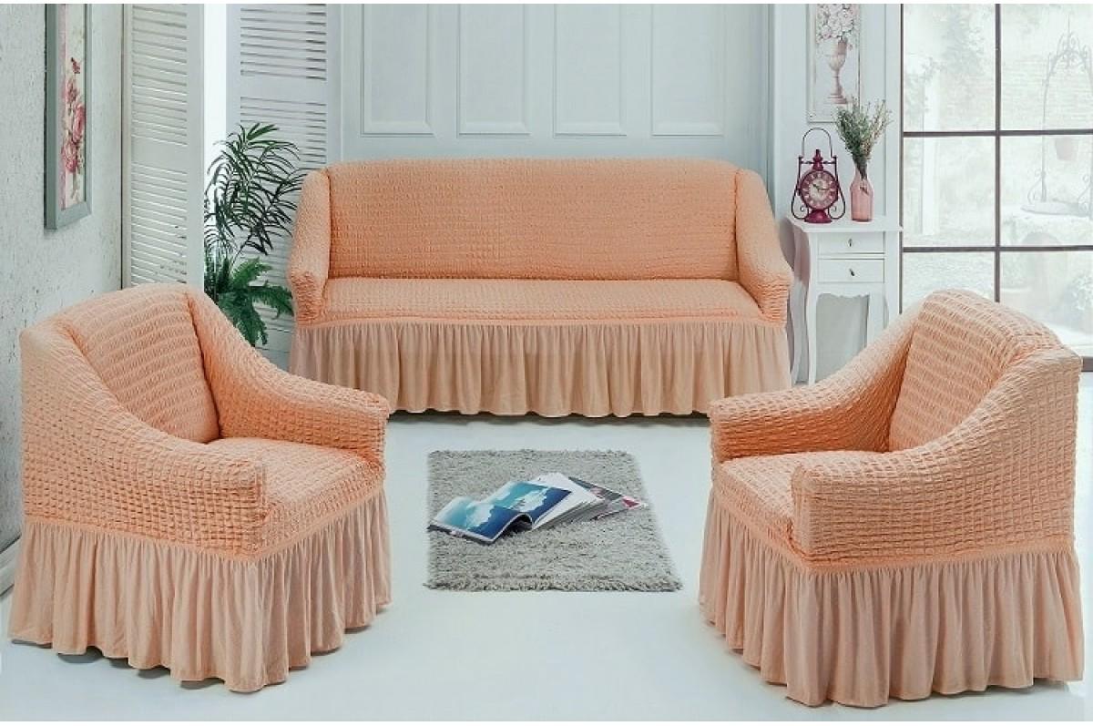Чехлы на диван и 2 кресла Персиковый