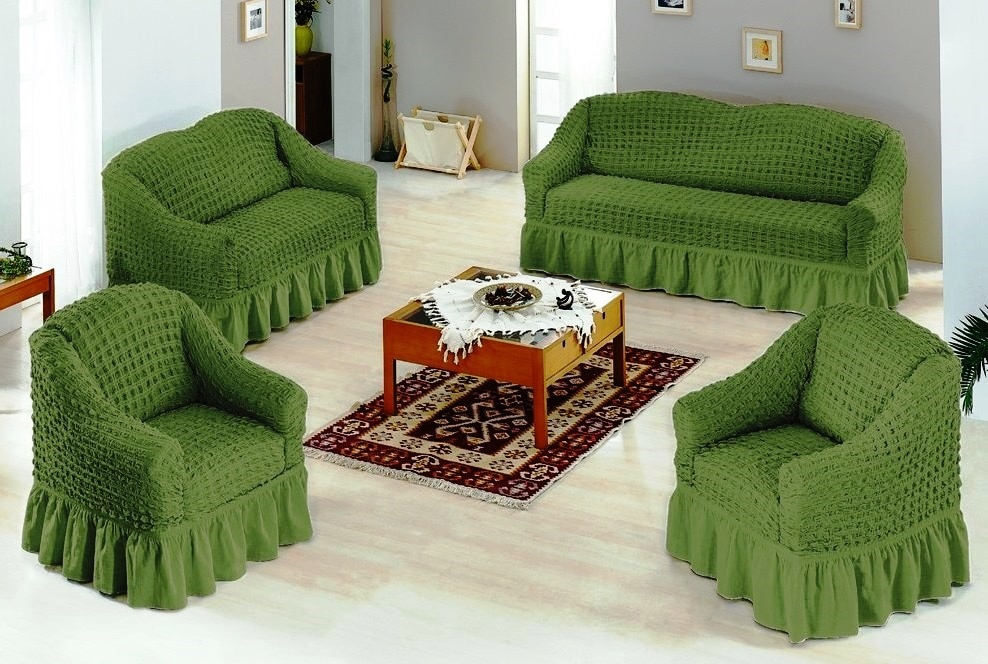 Чехлы на диван и 2 кресла. Зеленый