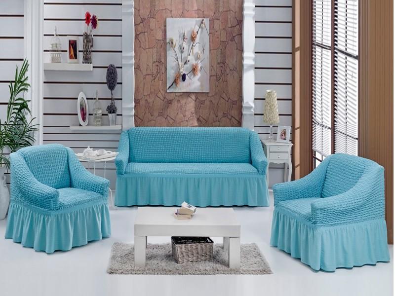 Чехлы на диван и 2 кресла. Голубой