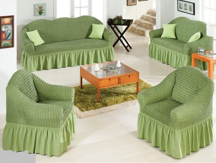 Чехлы на диван и 2 кресла. Зеленое яблоко