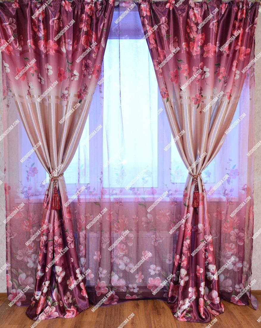 Фотошторы с тюлем одного цвета бордовые